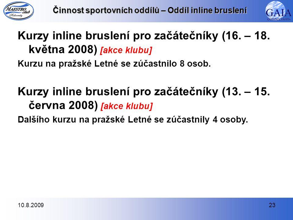 10.8.200923 Činnost sportovních oddílů – Oddíl inline bruslení Kurzy inline bruslení pro začátečníky (16.