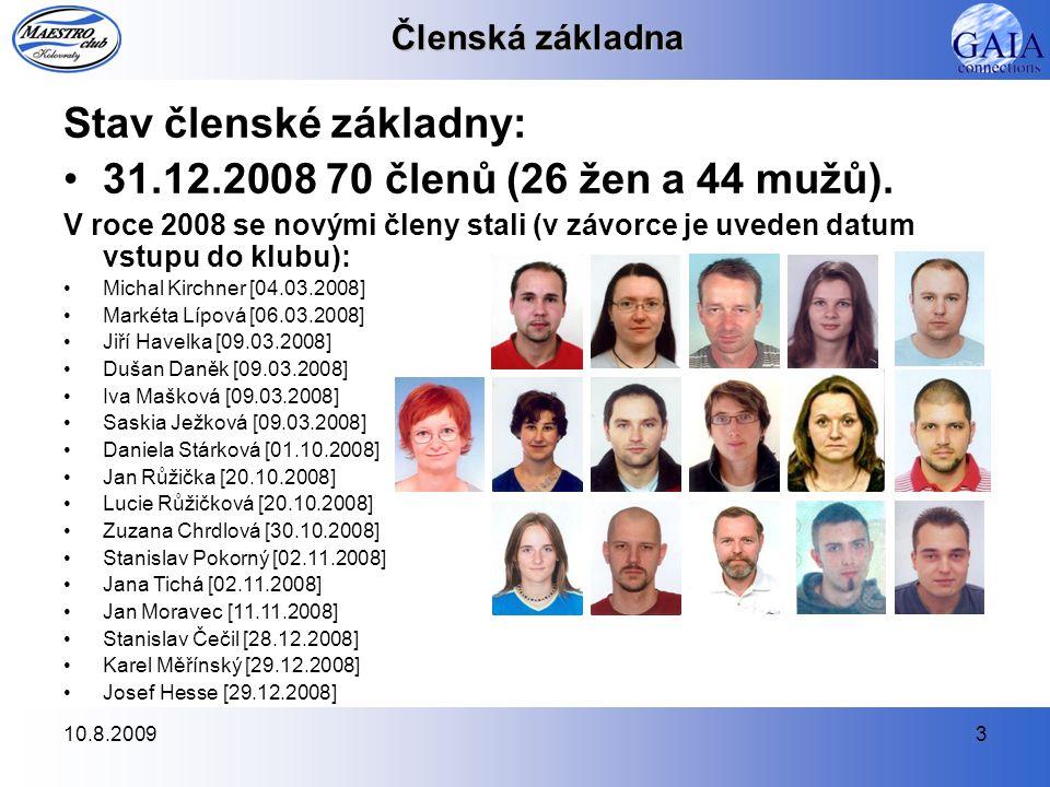 10.8.20093 Členská základna Stav členské základny: 31.12.2008 70 členů (26 žen a 44 mužů). V roce 2008 se novými členy stali (v závorce je uveden datu