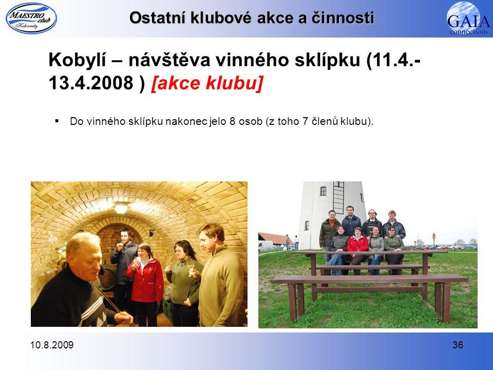 10.8.200936 Kobylí – návštěva vinného sklípku (11.4.- 13.4.2008 ) [akce klubu]  Do vinného sklípku nakonec jelo 8 osob (z toho 7 členů klubu). Ostatn
