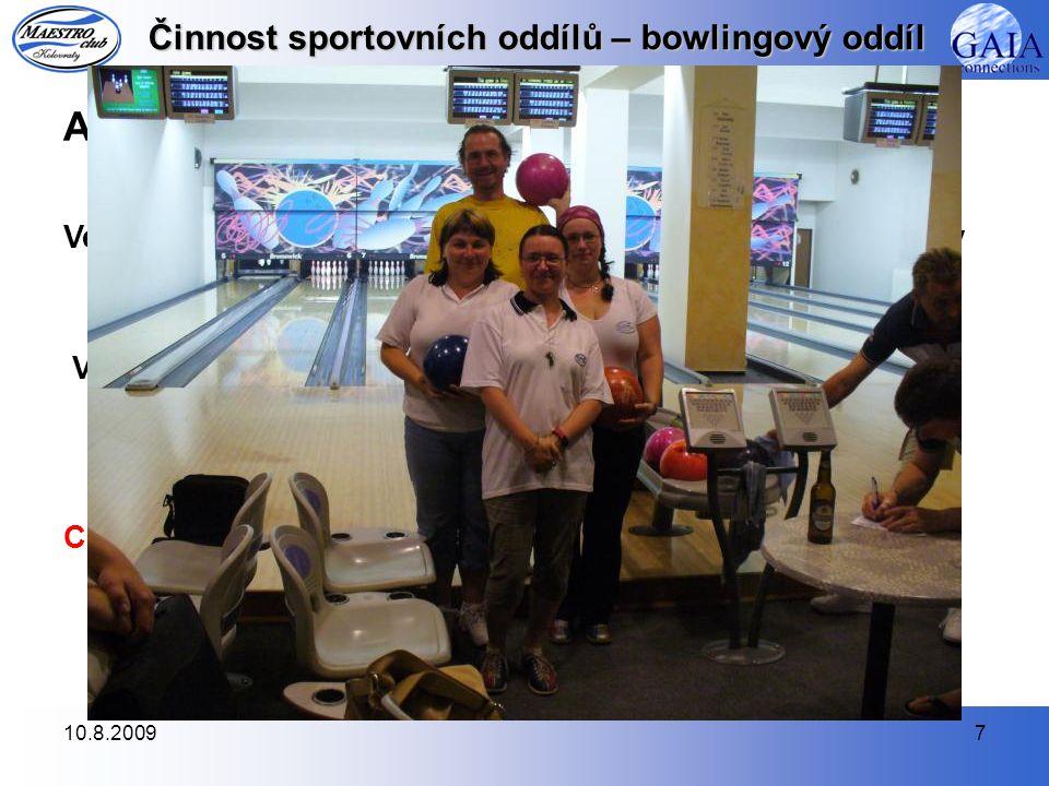 """10.8.20097 Činnost sportovních oddílů – bowlingový oddíl ABL jaro 2008 Ve čtyřech hracích dnech jarní ABL hrály 2 týmy záběhlický přebor (""""A a """"B ) a 1 tým hrál v záběhlické divizi (""""C )."""