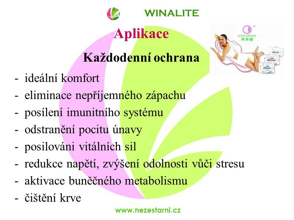 www.nezestarni.cz Aplikace - ideální komfort - eliminace nepříjemného zápachu - posílení imunitního systému - odstranění pocitu únavy - posilováni vitálních sil - redukce napětí, zvýšení odolnosti vůči stresu - aktivace buněčného metabolismu - čištění krve WINALITE Každodenní ochrana
