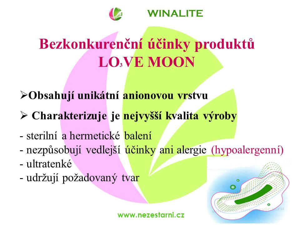 www.nezestarni.cz Bezkonkurenční účinky produktů LO 3 VE MOON  Obsahují unikátní anionovou vrstvu  Charakterizuje je nejvyšší kvalita výroby - sterilní a hermetické balení - nezpůsobují vedlejší účinky ani alergie (hypoalergenní) - ultratenké - udržují požadovaný tvar WINALITE