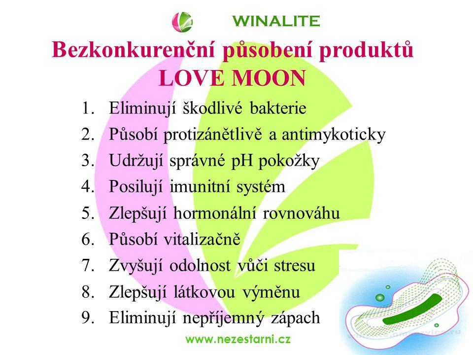 www.nezestarni.cz Bezkonkurenční působení produktů LOVE MOON WINALITE 1.Eliminují škodlivé bakterie 2.Působí protizánětlivě a antimykoticky 3.Udržují správné pH pokožky 4.Posilují imunitní systém 5.Zlepšují hormonální rovnováhu 6.Působí vitalizačně 7.Zvyšují odolnost vůči stresu 8.Zlepšují látkovou výměnu 9.Eliminují nepříjemný zápach