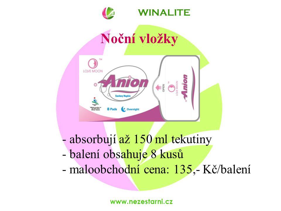 www.nezestarni.cz Noční vložky - absorbují až 150 ml tekutiny - balení obsahuje 8 kusů - maloobchodní cena: 135,- Kč/balení WINALITE