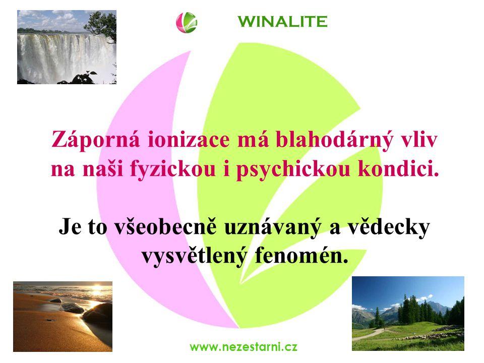 www.nezestarni.cz Výskyt anionů v našem prostředí v blízkosti vodopádů 1 000 000 /cm 3 na horách, u moře 2 000 – 5 000 /cm 3 v lese 2 000 – 3 000 /cm 3 na loukách 1 000 /cm 3 v obytných prostorách 100 – 200 /cm 3 v kancelářích 40 – 60 /cm 3 WINALITE