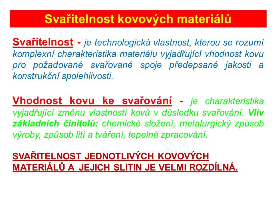Svařitelnost kovových materiálů Svařitelnost - je technologická vlastnost, kterou se rozumí komplexní charakteristika materiálu vyjadřující vhodnost kovu pro požadované svařované spoje předepsané jakosti a konstrukční spolehlivosti.