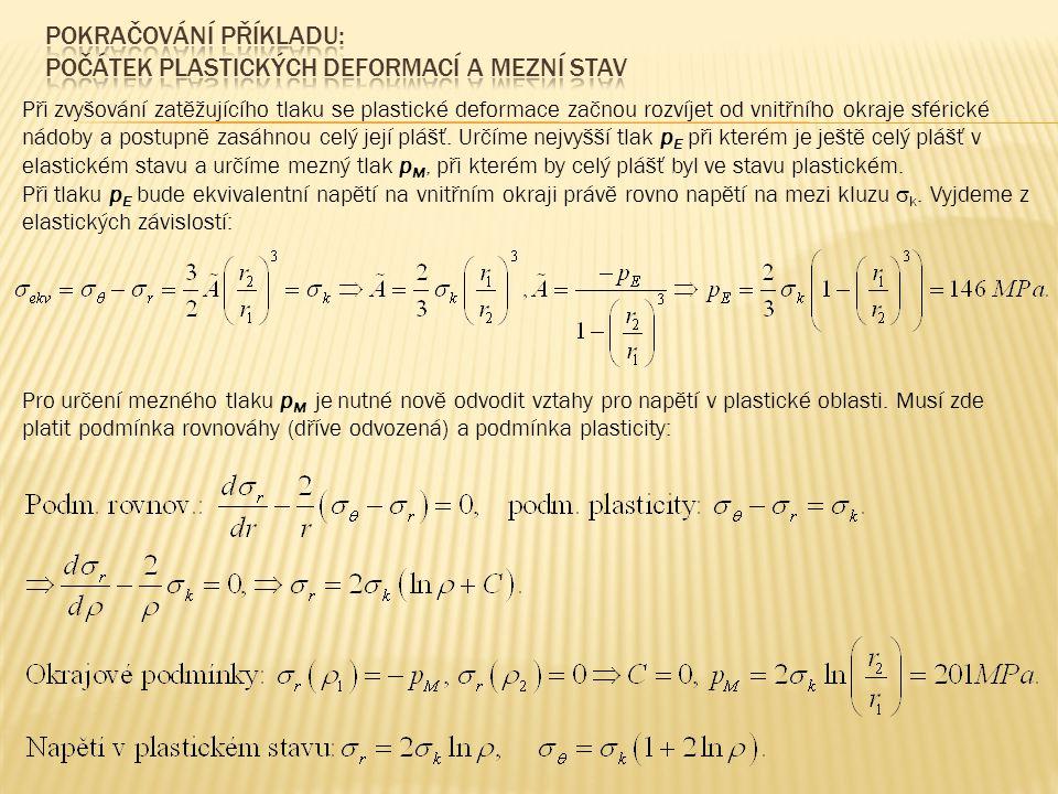 Radiální a obvodová napětí v grafu jsou ekvidistantní logaritmické křivky, rozdíl ordinát je roven mezi kluzu V praxi bychom zatížení mezným tlakem neriskovali.