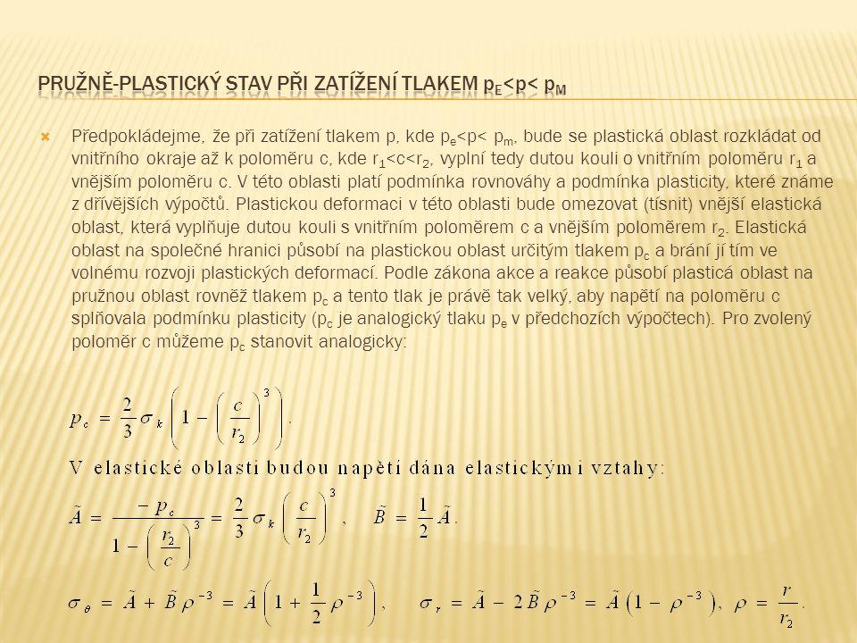  Předpokládejme, že při zatížení tlakem p, kde p e <p< p m, bude se plastická oblast rozkládat od vnitřního okraje až k poloměru c, kde r 1 <c<r 2, vyplní tedy dutou kouli o vnitřním poloměru r 1 a vnějším poloměru c.