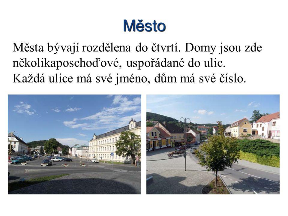 Město Města bývají rozdělena do čtvrtí. Domy jsou zde několikaposchoďové, uspořádané do ulic. Každá ulice má své jméno, dům má své číslo.
