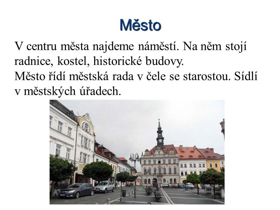 Město V centru města najdeme náměstí. Na něm stojí radnice, kostel, historické budovy.