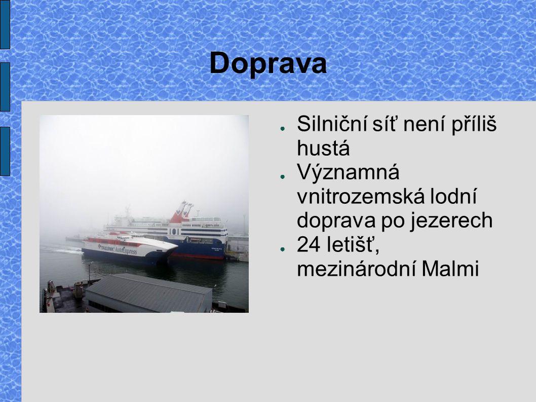 Doprava ● Silniční síť není příliš hustá ● Významná vnitrozemská lodní doprava po jezerech ● 24 letišť, mezinárodní Malmi