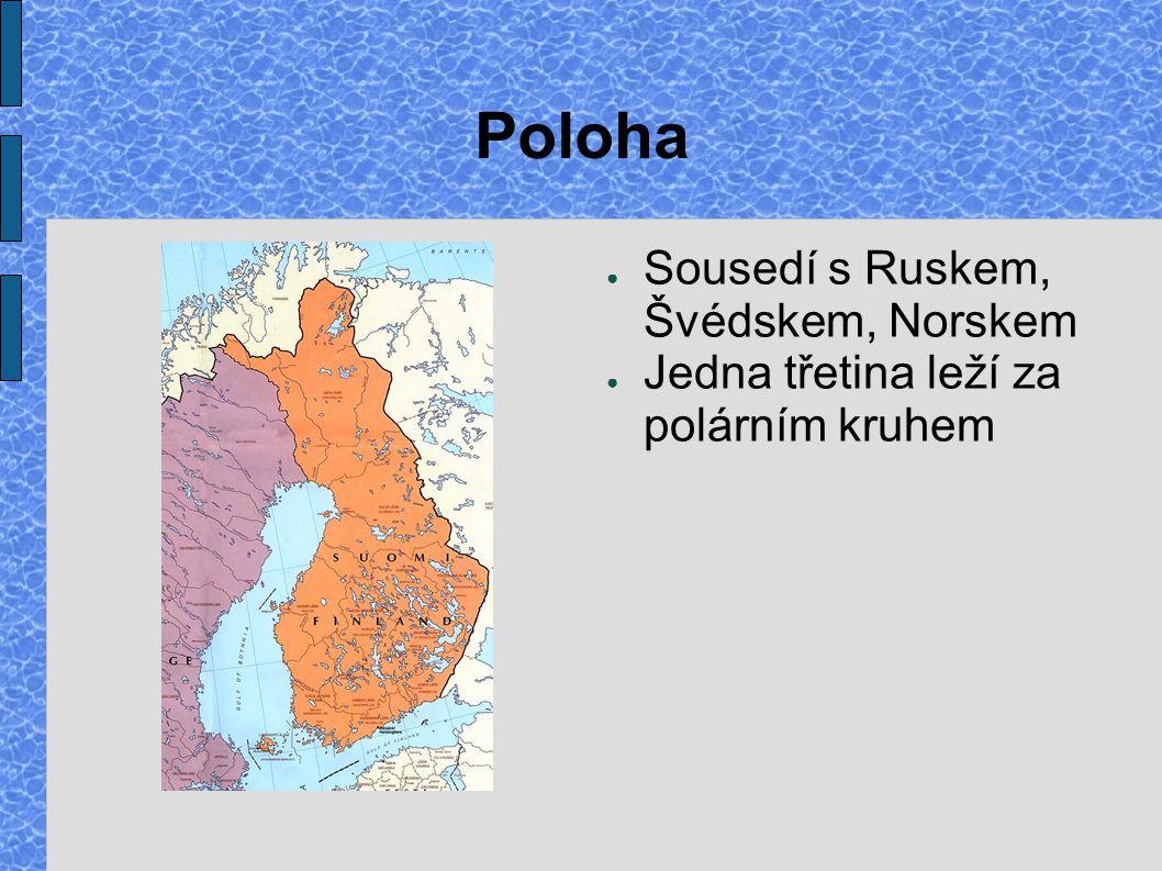 Poloha ● Sousedí s Ruskem, Švédskem, Norskem ● Jedna třetina leží za polárním kruhem