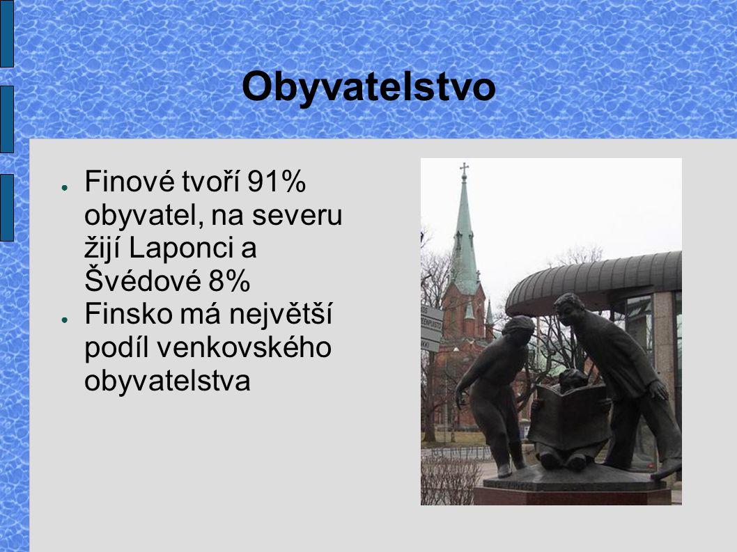 Obyvatelstvo ● Finové tvoří 91% obyvatel, na severu žijí Laponci a Švédové 8% ● Finsko má největší podíl venkovského obyvatelstva