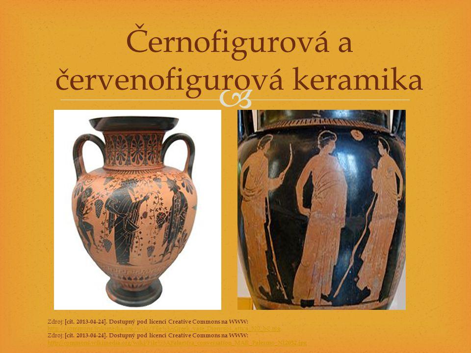  Sochařství monumentální sochy – vliv Egypta dary bohům nebo ozdoba bohů typy soch – kúros (nahý mladý muž), koré (mladá dívka v řaseném rouchu) reliéfy chrámů také zdobeny sochami vynikající zachycení proporcí lidského těla, realistické sochy nejslavnější sochaři: Myrón (Diskobolos), Feidias (socha bohyně Athény pro Parthenón, 15m vysoká)
