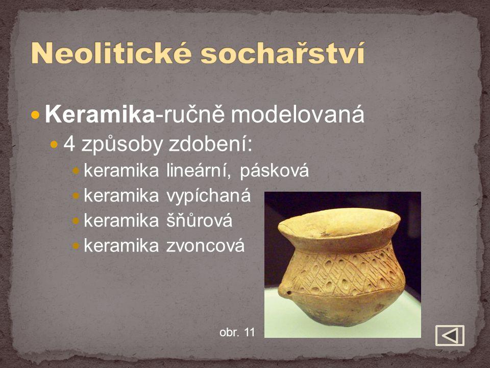 Keramika-ručně modelovaná 4 způsoby zdobení: keramika lineární, pásková keramika vypíchaná keramika šňůrová keramika zvoncová obr. 11