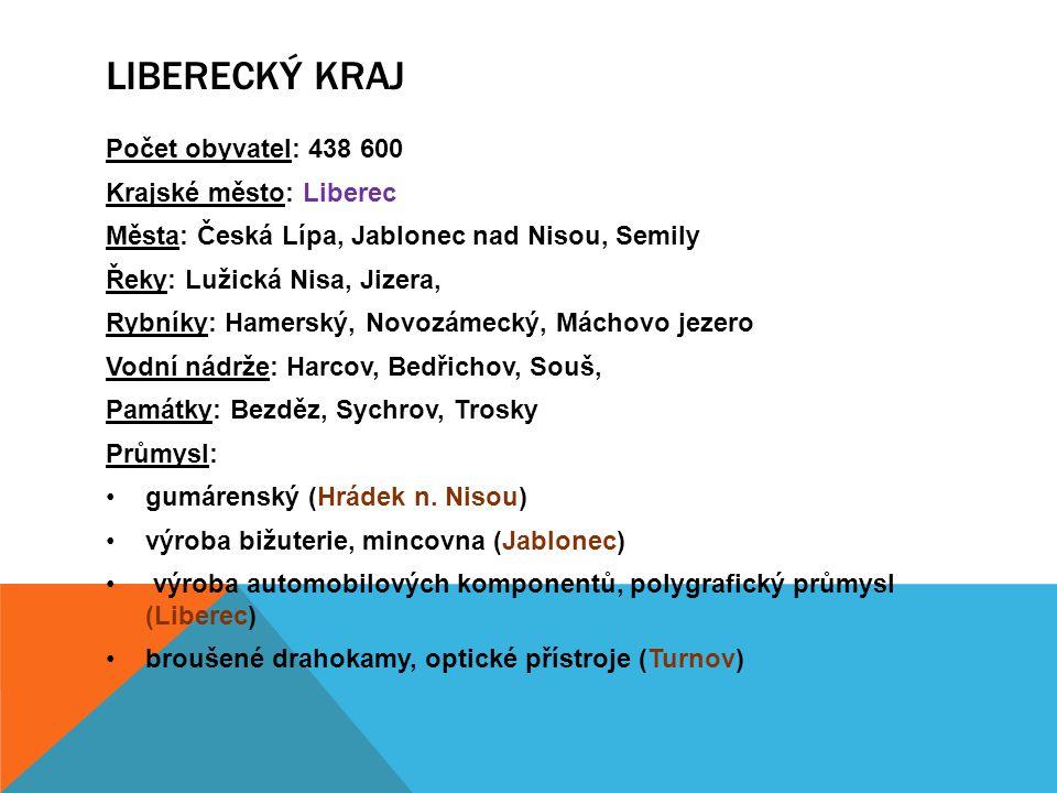 Počet obyvatel: 438 600 Krajské město: Liberec Města: Česká Lípa, Jablonec nad Nisou, Semily Řeky: Lužická Nisa, Jizera, Rybníky: Hamerský, Novozámeck