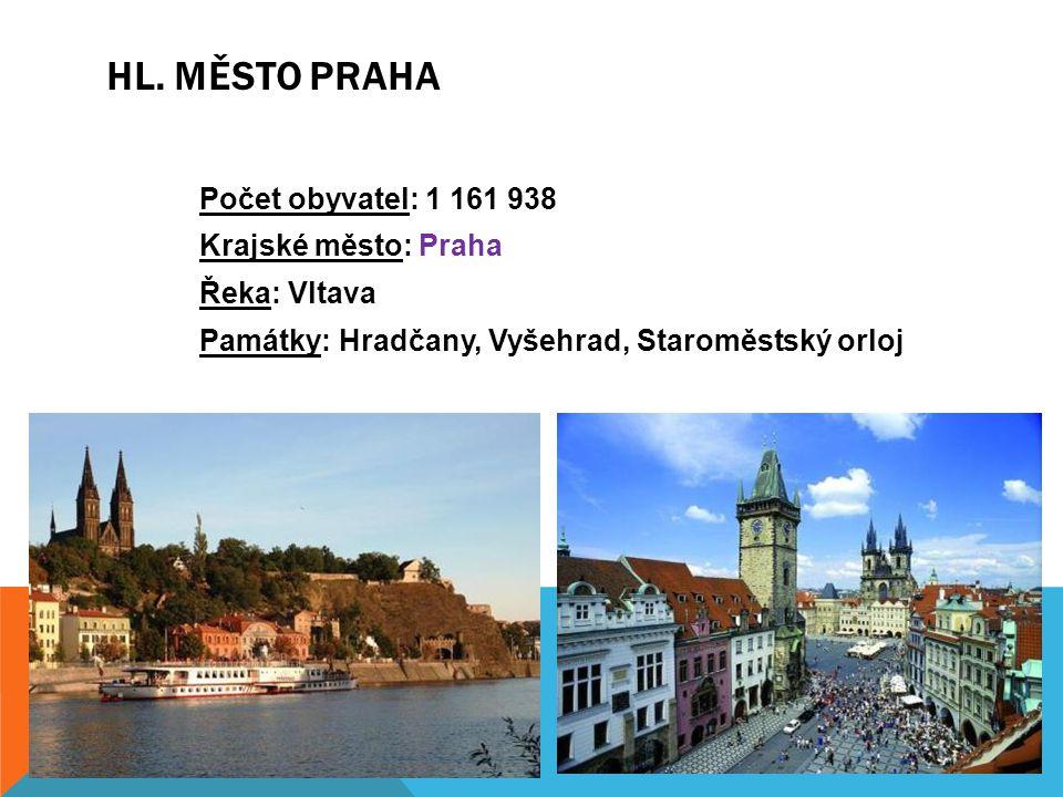 Počet obyvatel: 1 161 938 Krajské město: Praha Řeka: Vltava Památky: Hradčany, Vyšehrad, Staroměstský orloj