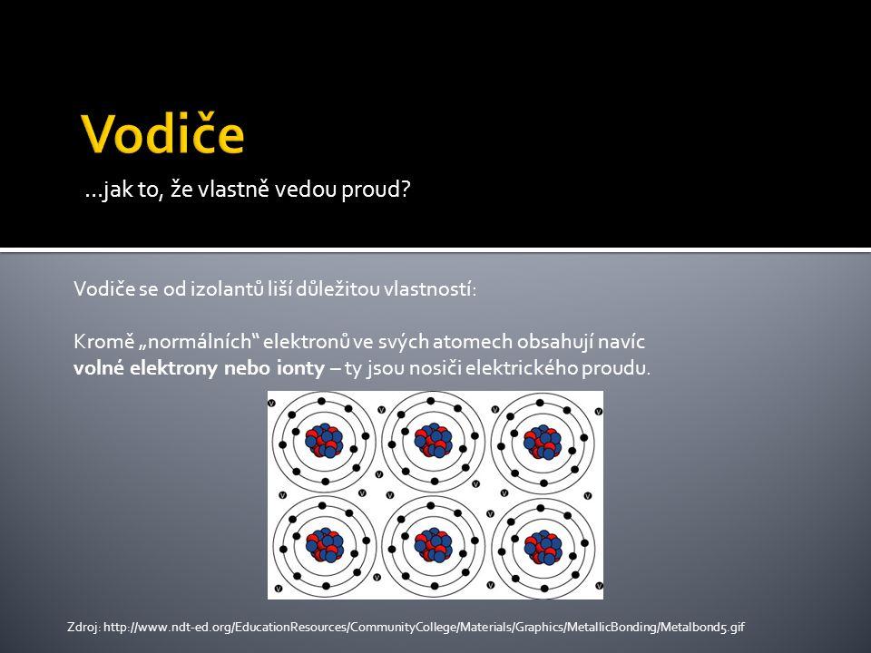 """…jak to, že vlastně vedou proud? Vodiče se od izolantů liší důležitou vlastností: Kromě """"normálních"""" elektronů ve svých atomech obsahují navíc volné e"""