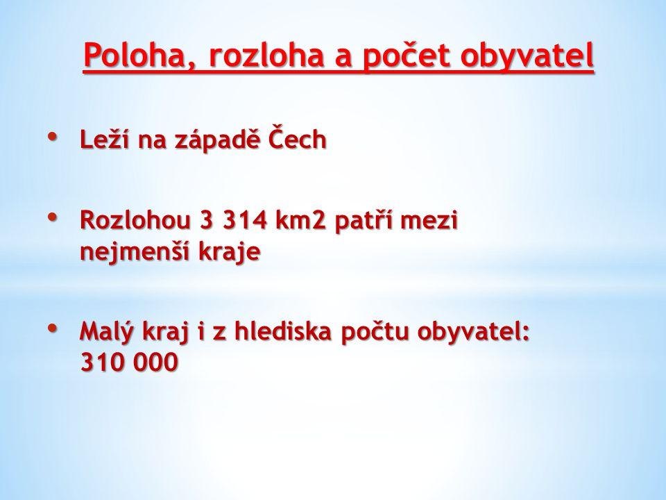Poloha, rozloha a počet obyvatel Leží na západě Čech Leží na západě Čech Rozlohou 3 314 km2 patří mezi nejmenší kraje Rozlohou 3 314 km2 patří mezi ne