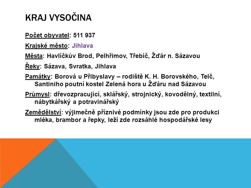 Počet obyvatel: 511 937 Krajské město: Jihlava Města: Havlíčkův Brod, Pelhřimov, Třebíč, Žďár n.