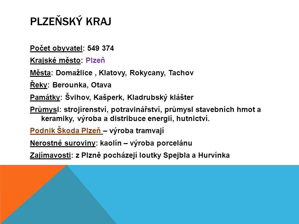 Počet obyvatel: 549 374 Krajské město: Plzeň Města: Domažlice, Klatovy, Rokycany, Tachov Řeky: Berounka, Otava Památky: Švihov, Kašperk, Kladrubský kl
