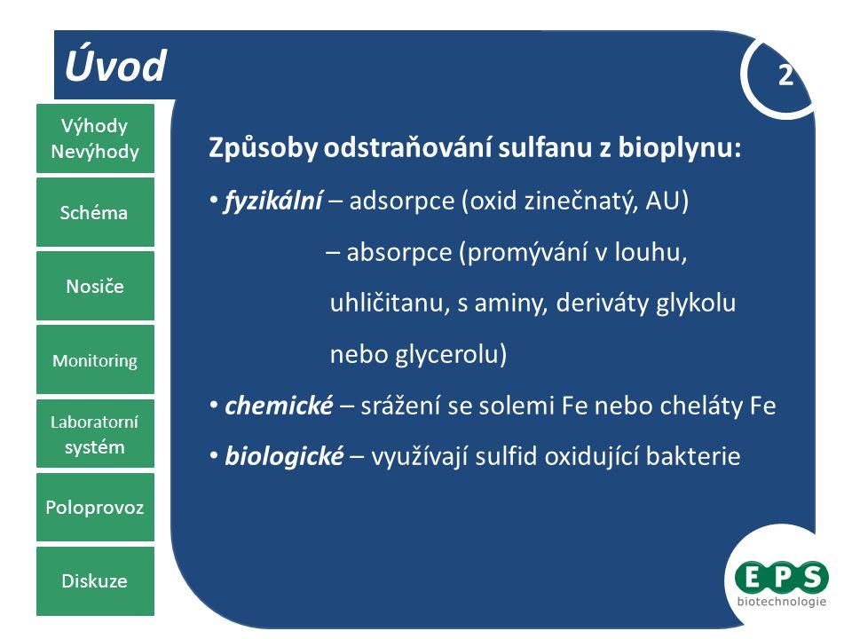 Úvod Způsoby odstraňování sulfanu z bioplynu: fyzikální – adsorpce (oxid zinečnatý, AU) – absorpce (promývání v louhu, uhličitanu, s aminy, deriváty g