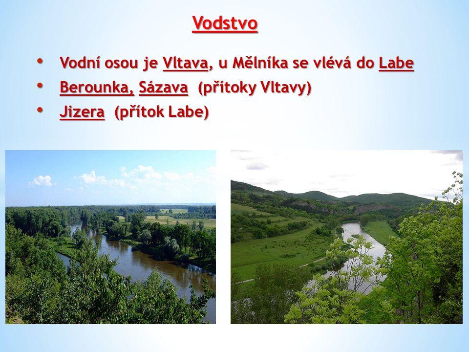 Vodstvo Vodní osou je Vltava, u Mělníka se vlévá do Labe Vodní osou je Vltava, u Mělníka se vlévá do Labe Berounka, Sázava (přítoky Vltavy) Berounka,