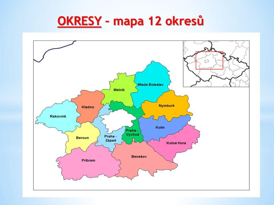 OKRESY – mapa 12 okresů
