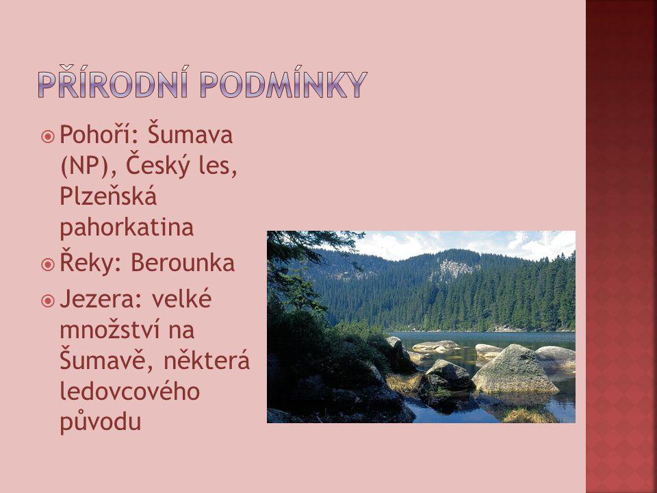  Pohoří: Šumava (NP), Český les, Plzeňská pahorkatina  Řeky: Berounka  Jezera: velké množství na Šumavě, některá ledovcového původu