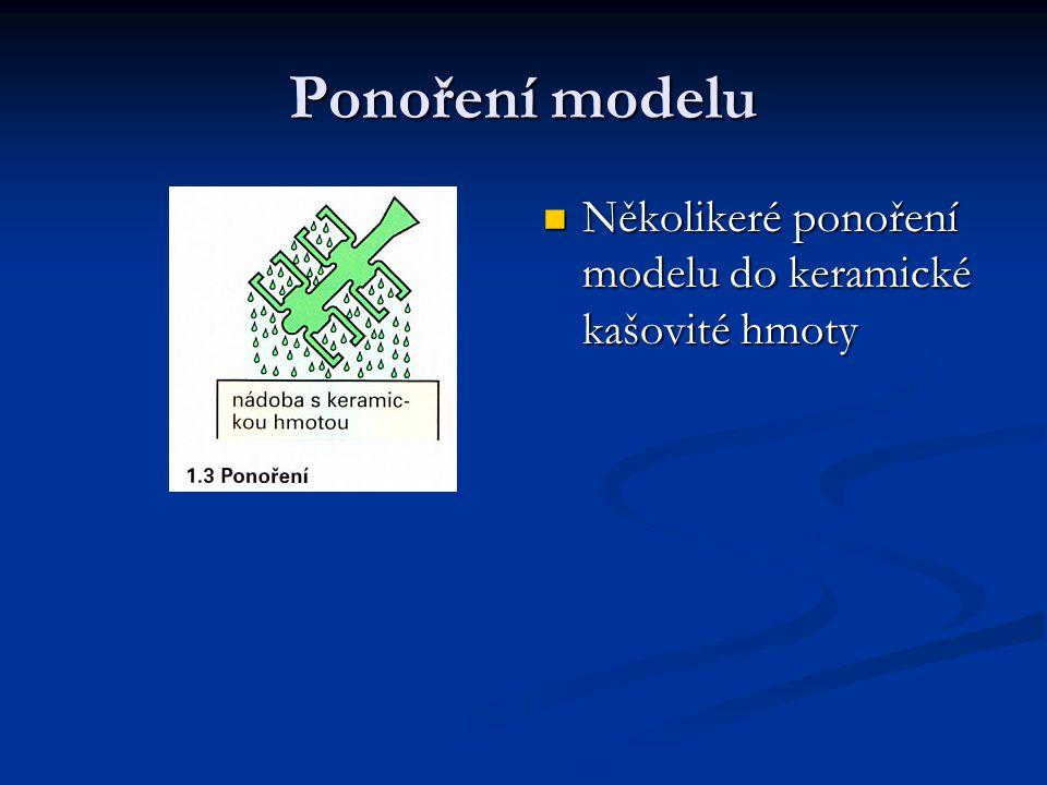 Několikeré ponoření modelu do keramické kašovité hmoty Ponoření modelu