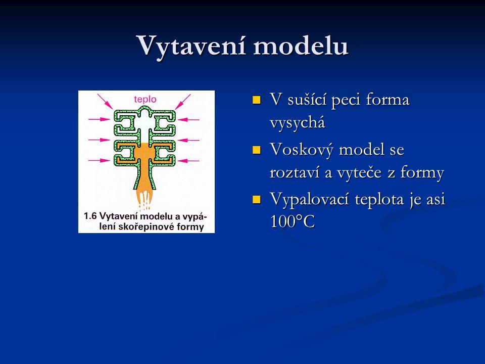 V sušící peci forma vysychá Voskový model se roztaví a vyteče z formy Vypalovací teplota je asi 100°C Vytavení modelu