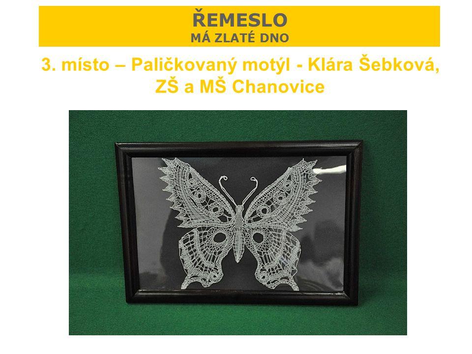 3. místo – Paličkovaný motýl - Klára Šebková, ZŠ a MŠ Chanovice ŘEMESLO MÁ ZLATÉ DNO