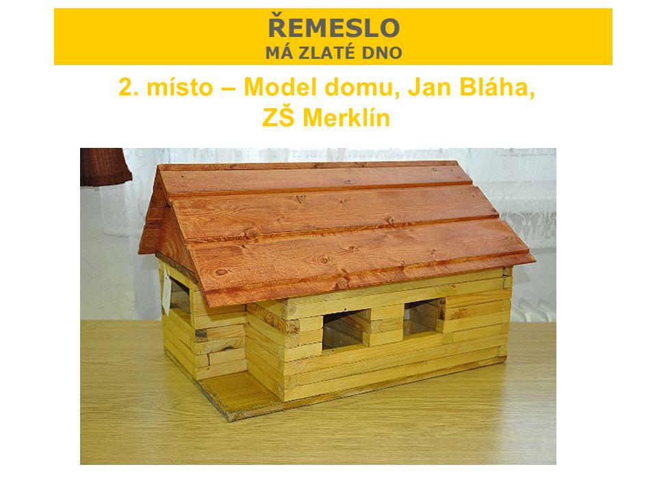 2. místo – Model domu, Jan Bláha, ZŠ Merklín ŘEMESLO MÁ ZLATÉ DNO