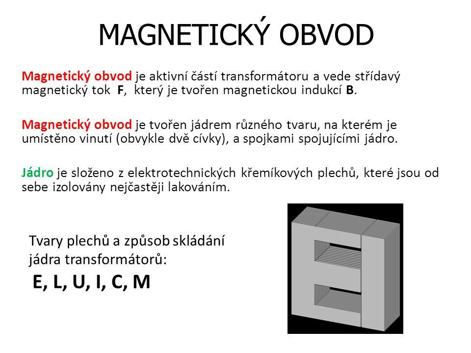 MAGNETICKÝ OBVOD Magnetický obvod je aktivní částí transformátoru a vede střídavý magnetický tok F, který je tvořen magnetickou indukcí B. Magnetický
