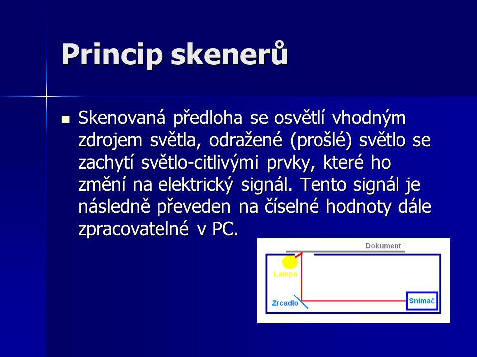Princip skenerů Skenovaná předloha se osvětlí vhodným zdrojem světla, odražené (prošlé) světlo se zachytí světlo-citlivými prvky, které ho změní na elektrický signál.