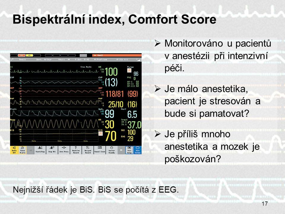 17 Bispektrální index, Comfort Score  Monitorováno u pacientů v anestézii při intenzivní péči.