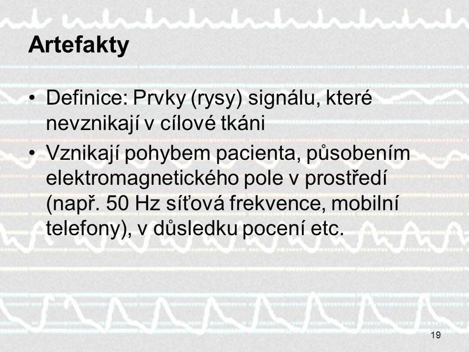19 Artefakty Definice: Prvky (rysy) signálu, které nevznikají v cílové tkáni Vznikají pohybem pacienta, působením elektromagnetického pole v prostředí (např.