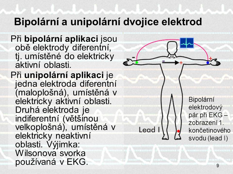 9 Bipolární a unipolární dvojice elektrod Při bipolární aplikaci jsou obě elektrody diferentní, tj. umístěné do elektricky aktivní oblasti. Při unipol