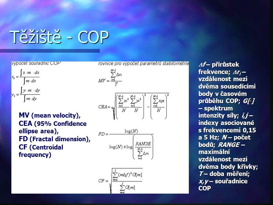 Těžiště - COP  f – přírůstek frekvence;  r i – vzdálenost mezi dvěma sousedícími body v časovém průběhu COP; G[. ] – spektrum intenzity síly; i,j –