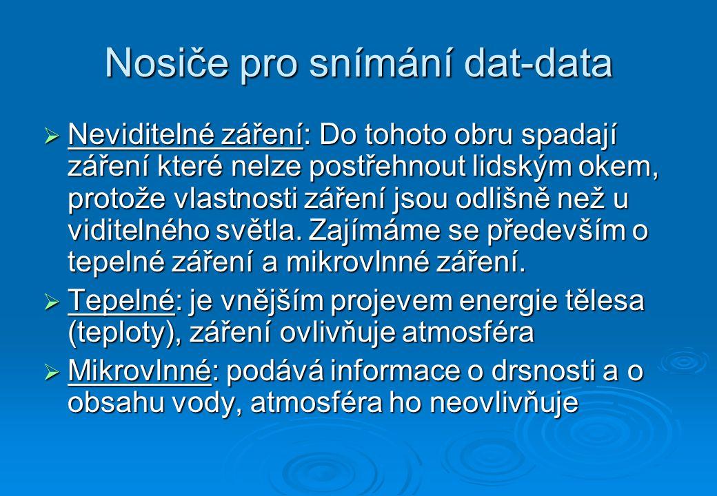 Nosiče pro snímání dat  Posledním druhem rozdělení nosičů je podle použitého snímače dat.