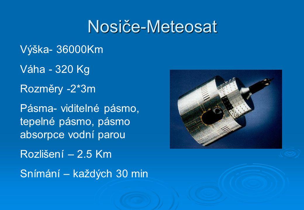 Nosiče-Ikonos Výška- 608Km Váha - 720 Kg Rychlost – 7 Km/s Rozlišení – 1 m Doba oběhu - 98 min