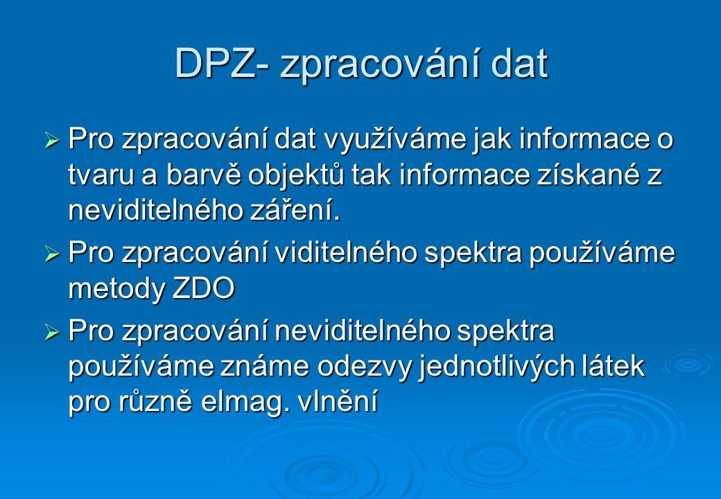 DPZ- zpracování dat-ZDO  Pomocí metod ZDO lze ve snímcích vyhledávat objekty silnic, řek, domů atd.