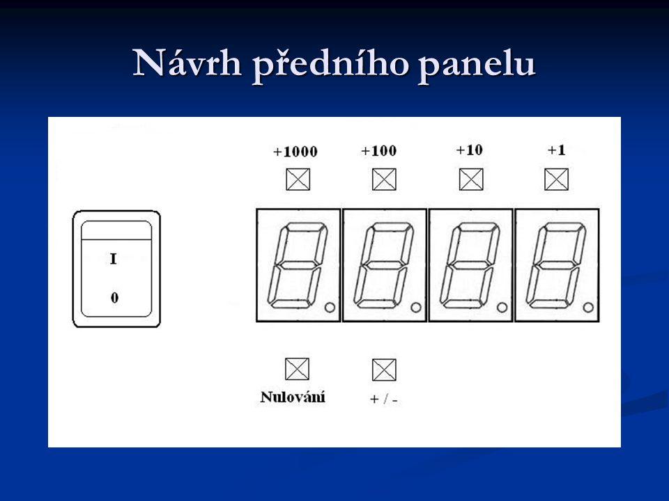 Návrh signalizace Nulování Nulování Režim přičítání Režim přičítání Režim odečítání Režim odečítání