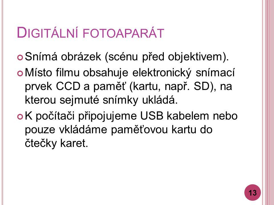 D IGITÁLNÍ FOTOAPARÁT Snímá obrázek (scénu před objektivem).