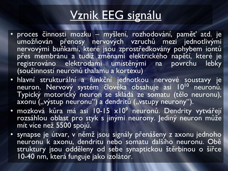 Vznik EEG signálu proces činnosti mozku – myšlení, rozhodování, paměť atd. je umožňován přenosy nervových vzruchů mezi jednotlivými nervovými buňkami,