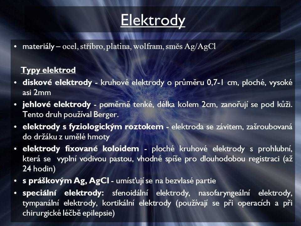 Elektrody materiály – ocel, stříbro, platina, wolfram, směs Ag/AgCl Typy elektrod diskové elektrody - kruhové elektrody o průměru 0,7-1 cm, ploché, vysoké asi 2mm jehlové elektrody - poměrně tenké, délka kolem 2cm, zanořují se pod kůži.