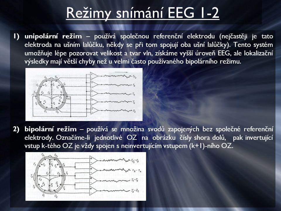 Režimy snímání EEG 1-2 1)unipolární režim – používá společnou referenční elektrodu (nejčastěji je tato elektroda na ušním lalůčku, někdy se při tom spojují oba ušní lalůčky).