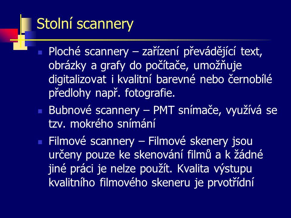 Stolní scannery Ploché scannery – zařízení převádějící text, obrázky a grafy do počítače, umožňuje digitalizovat i kvalitní barevné nebo černobílé předlohy např.