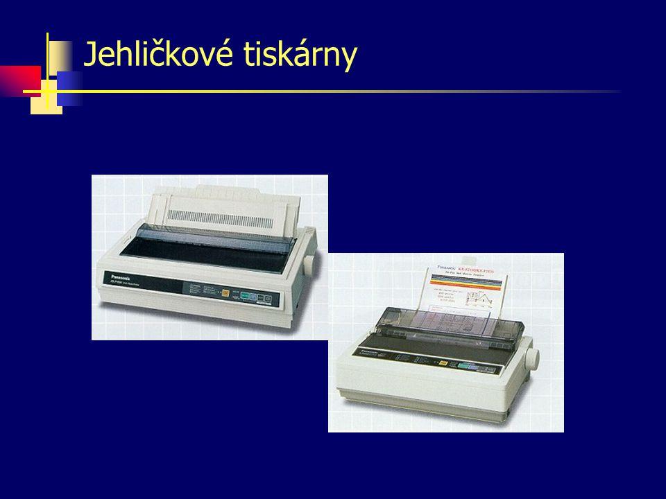 Inkoustové tiskárny Inkoust umístěný v malé nádržce, jež se pohybuje společně s tiskovou hlavou, je stříkán v malých kapkách na papír.