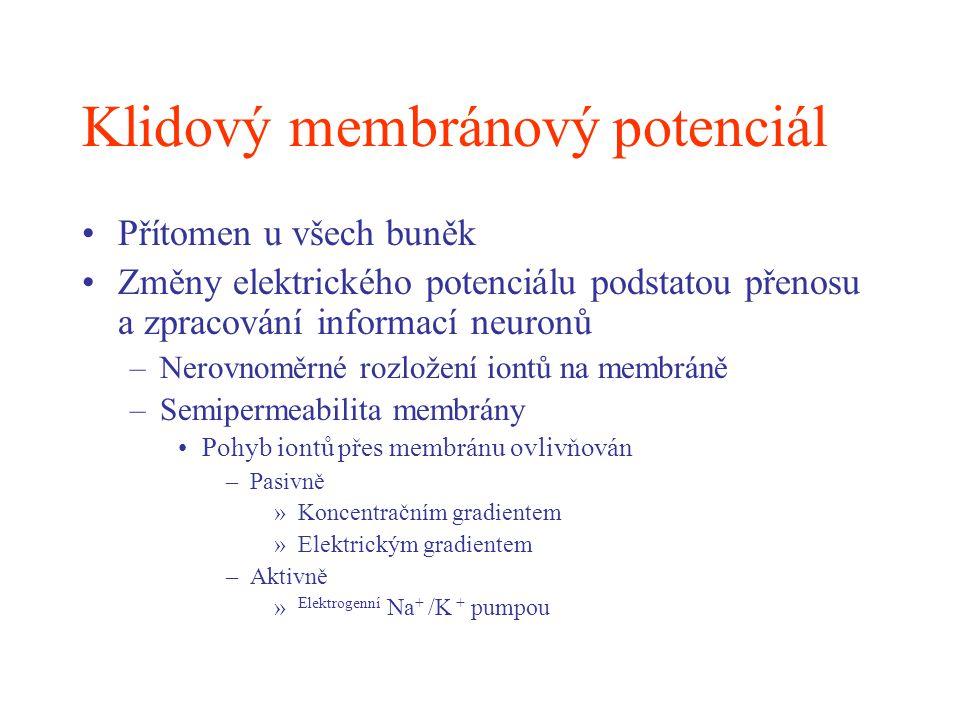 Reversal potenciál Membránový potenciál (mV) 62 31 16 -4 -10 -18 -22
